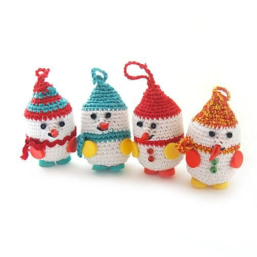 Crocheted Snowmen on Kinder Surprise containers