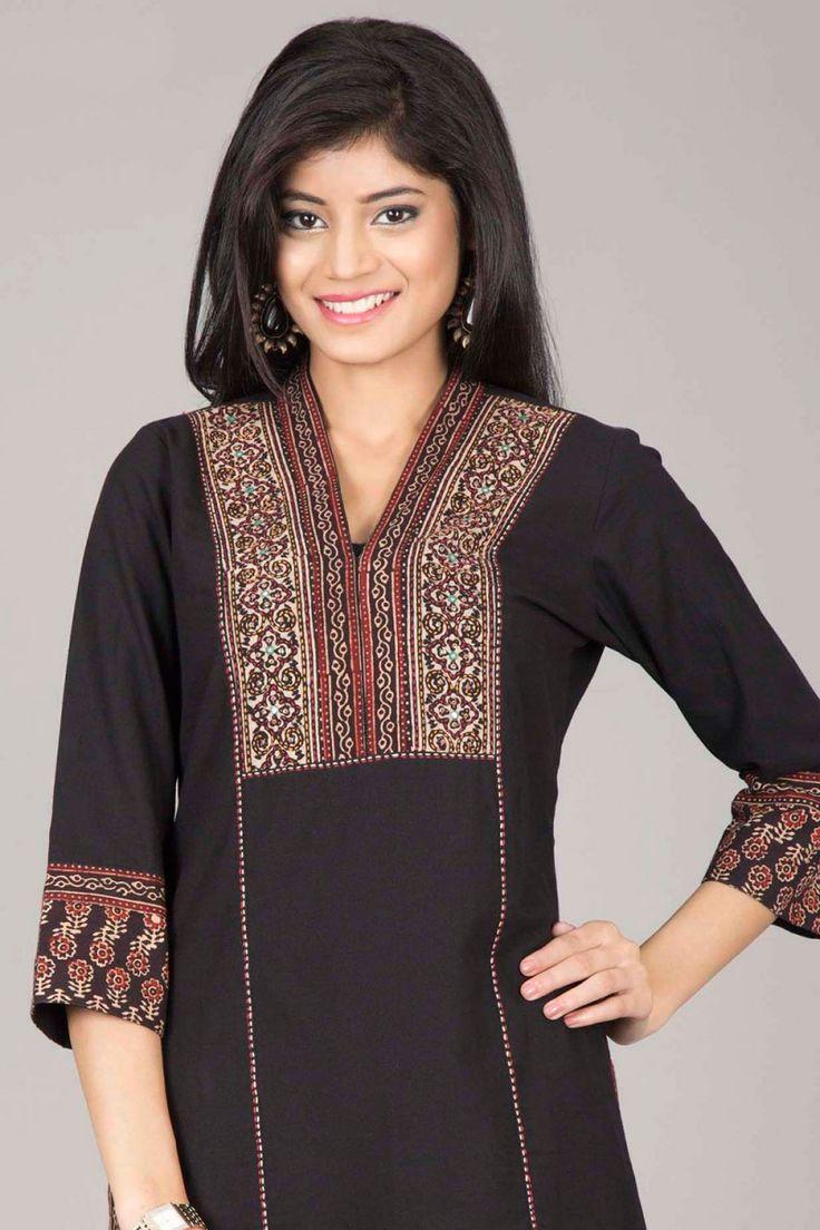 Farida Gupta Kurtas | Classic Black Straight Cotton Kurta By Farida Gupta | IndiaInMyBag.com