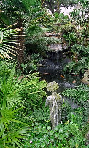 Lamorran House Gardens, Cornwall, UK   A coastal garden with an eclectic mix of statuary and water features (2 of 11)