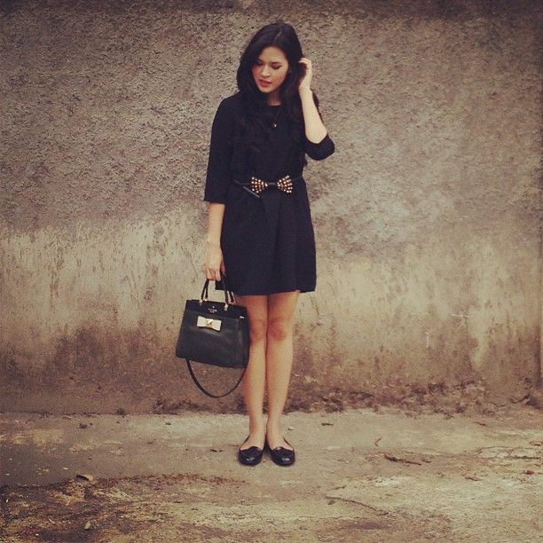 raisa6690 | Today's outfit; blacks and bows. Loving my cottonink dress | Webstagram