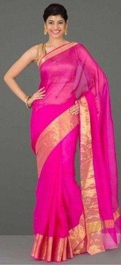 pink chanderi saree....