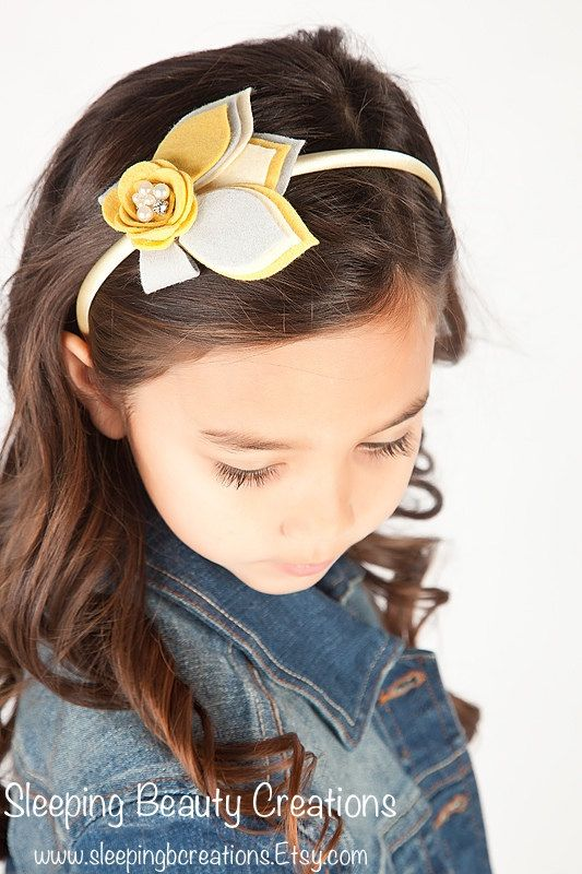 Fallen Leaves Headband in Grey Cream and by sleepingbcreations, $13.50