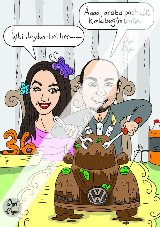 Eşinize Doğum Günü Hediyesi | Karikatür Portre  #ozelcizim #Hediye #Karikatur #dogumgunu #Farkyarat #komik #eglenceli #ozel #resim #cizim #surpriz #fikir #sanat #pasta