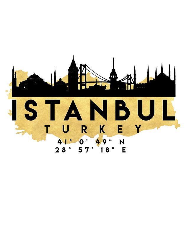 ISTANBUL TURKEY SILHOUETTE SKYLINE MAP ART -  The beautiful silhouette skyline of Istanbul and the great map of Turkey in gold, with the exact coordinates of Istanbul make up this amazing art piece. A great gift for anybody that has love for this city.   istanbul turkey downtown silhouette skyline map coordinates souvenir gold deificus art