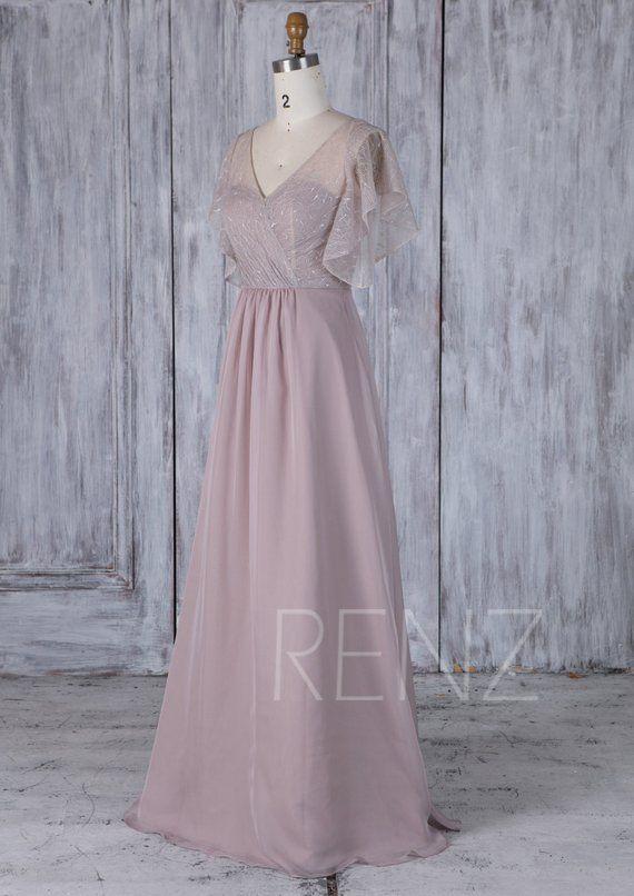 755b72770ee Rose Gray Chiffon Bridesmaid Dress Ruffle Sleeve Lace Wedding Dress ...