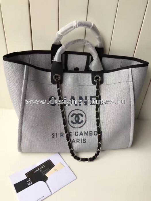 9a99a71fc Chanel A66942 Large Toile Deauville Shopping Bag in Grey in 2019 ...