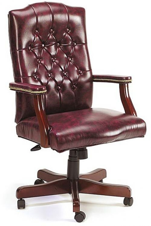 Executive Chair Red Swivel Chair In Oxblood Vinyl Office Chair  Bankers Chair  #Boss #ExecutiveManagerialChair #Chair #Office #Seat #OfficeChair