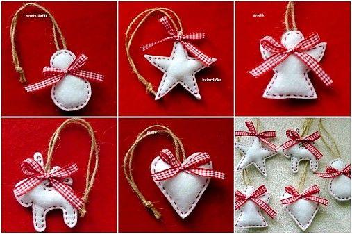 Vianočné ozdoby v severskom štýle vyrobené z bieleho filcu, výplň - guličkové vlákno, na zavesenie. Počet a tvar ozdoby je podľa vlastného výberu. Cena je za 1 ks. Nad 20 ks je príplatok za poštovn...