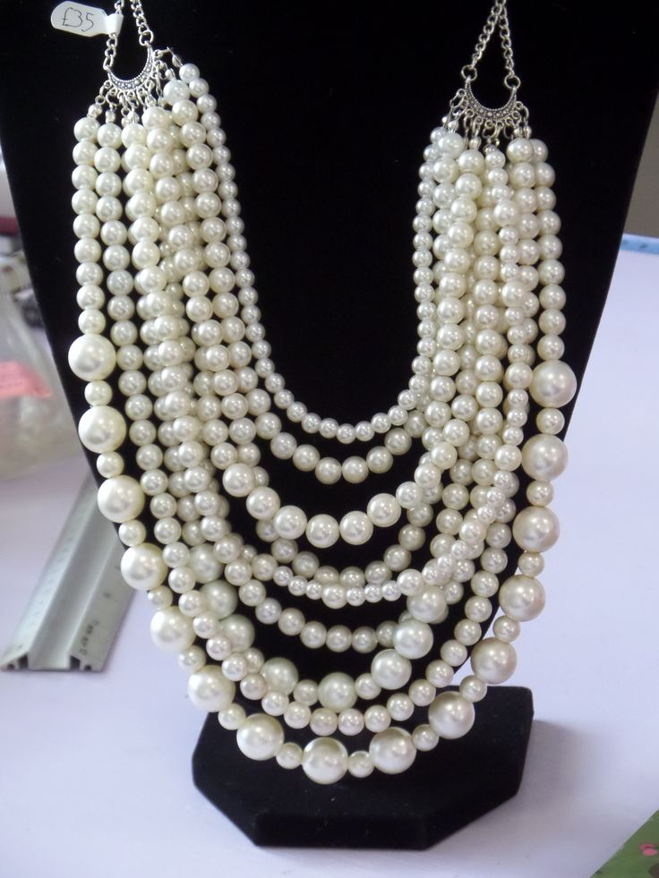 9 strand faux pearl necklace- an amazing statement piece. www.facebook.com/ieshasattic