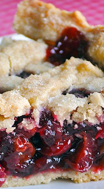 Homemade Triple Cherry Pie ~ Combines sour cherries, sweet cherries and dried cherries in a flaky, sugary crust