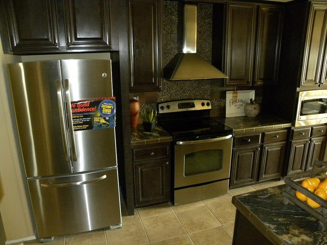 Evolution Kitchen Stainless Steel Appliances And Look That Tile Backsplash Behind The