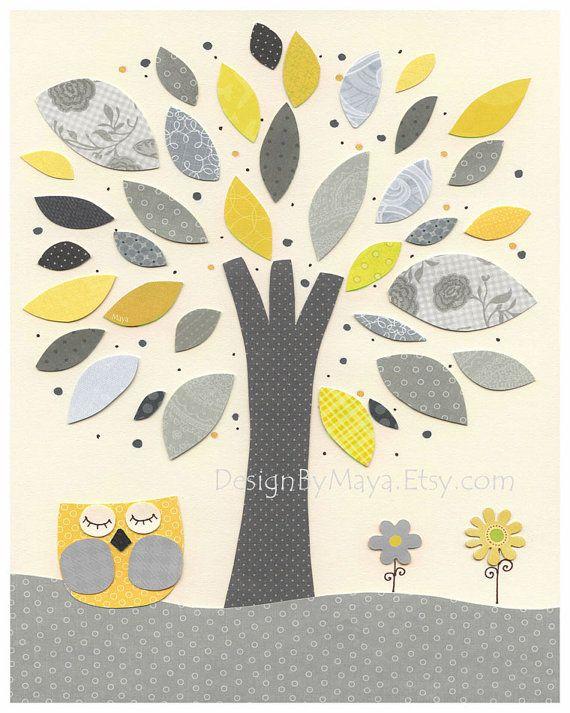 Nursery Art Decor, Kids Print, abc, baby owl nursery art, baby owl, gray, yellow, tree, baby boy room decor via Etsy