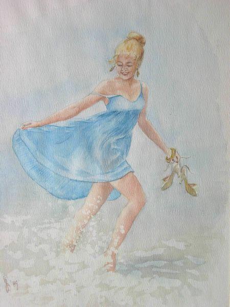in zee met blauwe jurk -aquarel 30x40cm