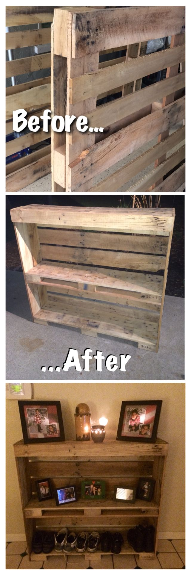 Pallet entry table. Reclaimed and up cycled! Pallet project, pallet wood, rustic shoe rack.