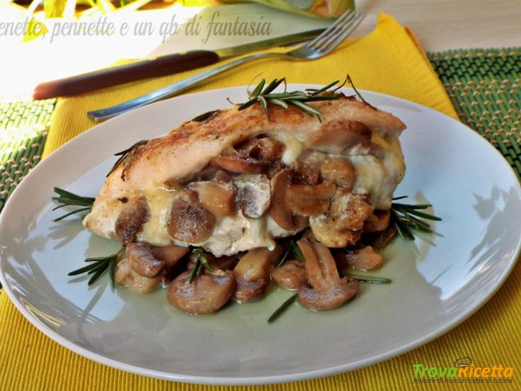 Petto di pollo farcito con funghi e mozzarella  #ricette #food #recipes