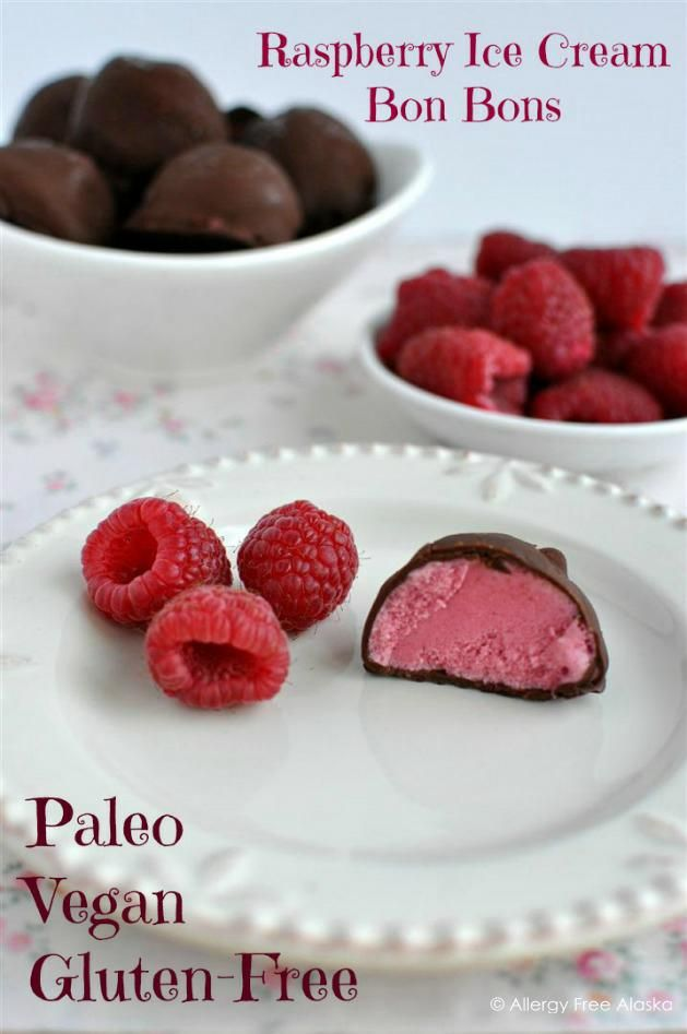 Chocolate Covered Raspberry Ice Cream Bon Bons  (gluten free/paleo/vegan/diary free/nut free/low sugar)