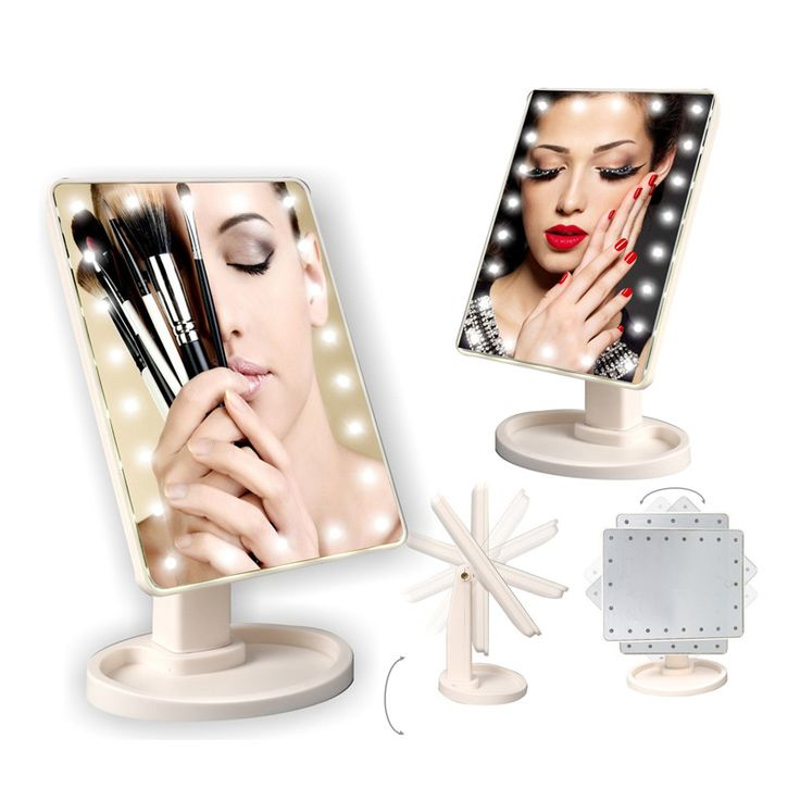 LED Makeup Mirror Night Light Adjustable USB Tabletop Lamp 16/22 LEDs Touch Screen Light Portable LED Lights Makeup Tool