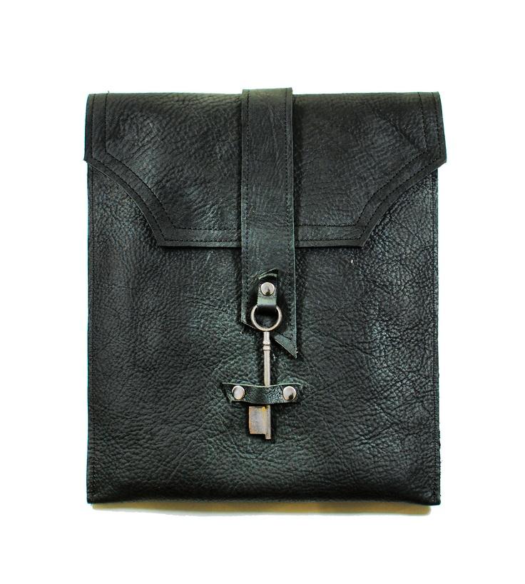 interesting closure-Black Leather Messenger Bag with Skeleton Key Antique Hardware
