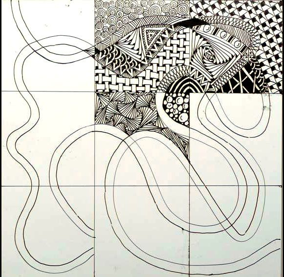9 square doodle- zentangle group project