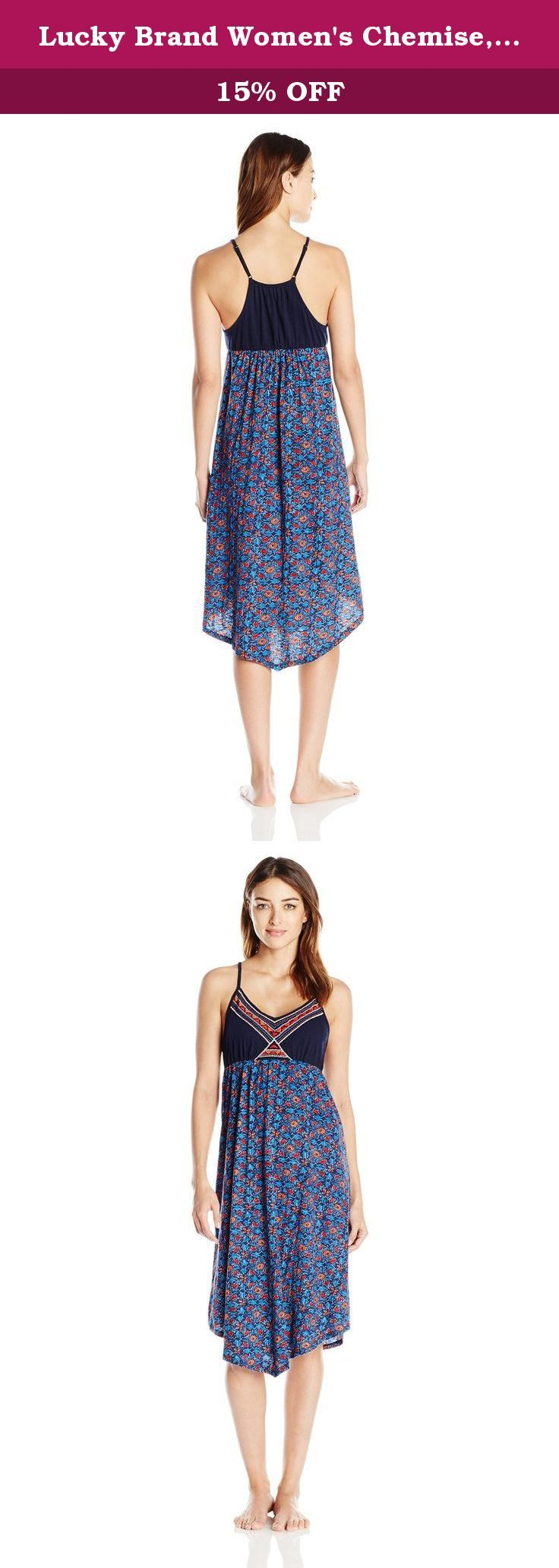 Lucky Brand Women's Chemise, Navy Block Print, Large. Light, comfortable, and easy to live in, this Lucky Brand chemise will be your new favorite.