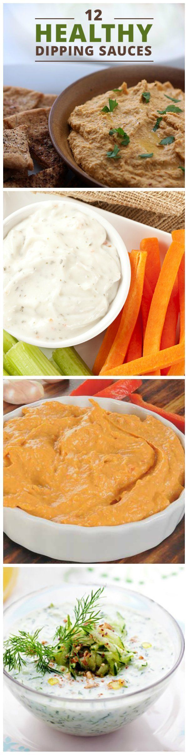 12 Healthy Dipping Sauces for the perfect, guiltless clean eating snack! #hummus #guacamole #ranchdip