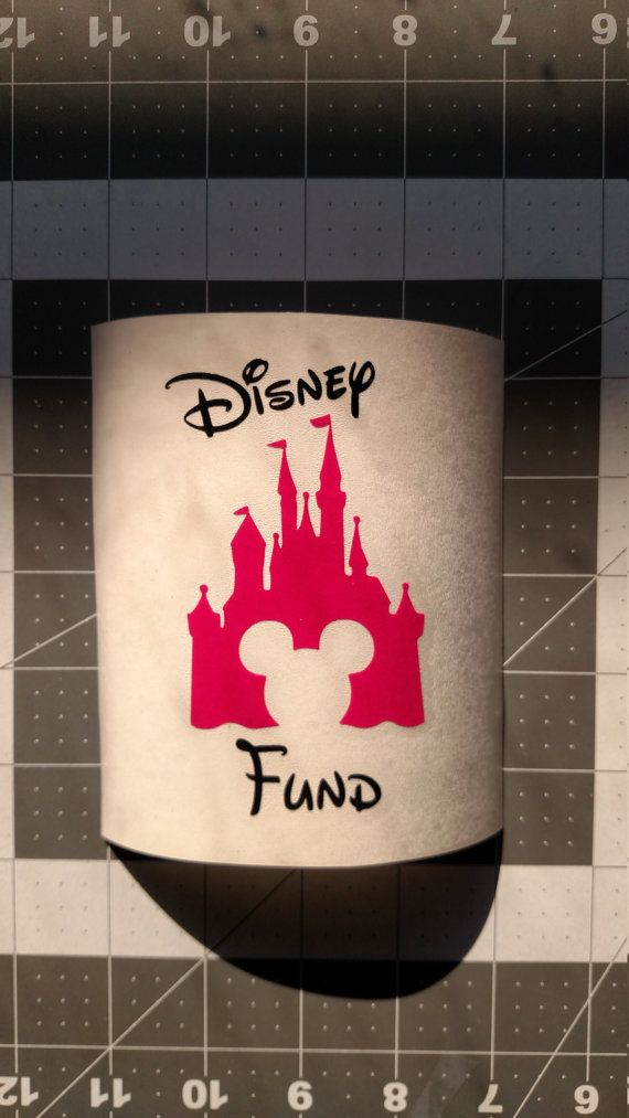 Disney Castle with Mickey Decal - Disney Fund Bank Decal -  Vinyl Graphic Decal - Savings Bank Decal - Personalize Choose Colors and Wording