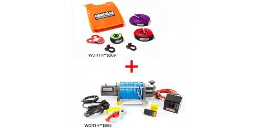 Grande MK III 12,000lb Winch with Rope + Hercules Recovery Kit - IN STOCK FOR ONLINE ORDERS ONLY!