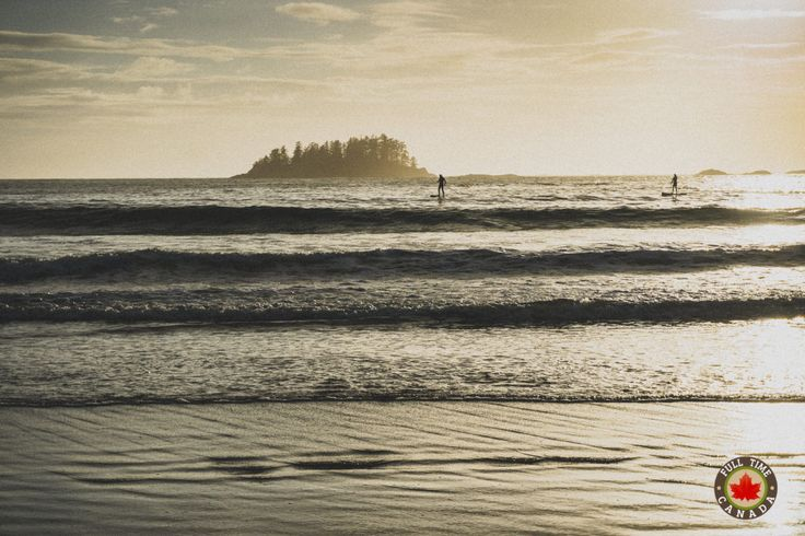 A couple of paddle boarders enjoy the calm waters of MacKenzie Beach in Tofino.