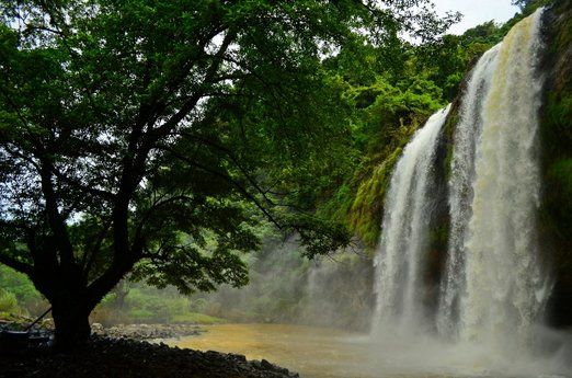 Curug Sodong: Visitors coming to Ciletuh Bay can also marvel at this gorgeous waterfall called Curug Sodong. (Photo by A...
