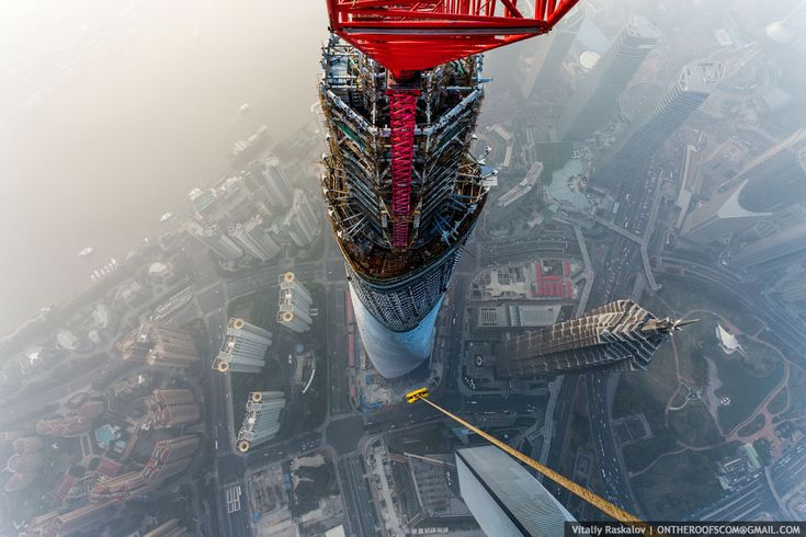 View of the Jin Mao Tower and Shanghai World Financial Center from the Shanghai Tower. Image: Vitaliy Raskalov
