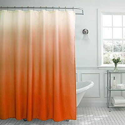 Creative Home Ideas Ombre Waffle Weave Shower Curtain with 12 Color Coordinated Metal Roller Rings in Orange