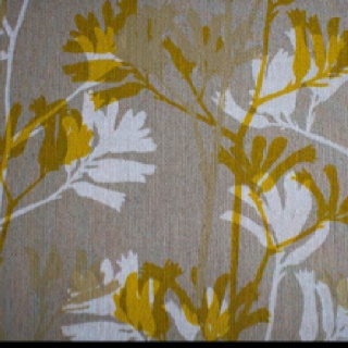 Awesome textiles from Melbourne based graphic designer cum textile artist Ink & Spindle.   http://shop.inkandspindle.com.au/products/kangaroo-paw-in-mustard-snow-soft-gold