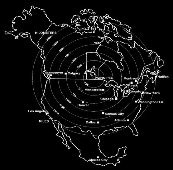 Winnipeg is in the centre of North America, aka the North American Pole of Inaccessibility.