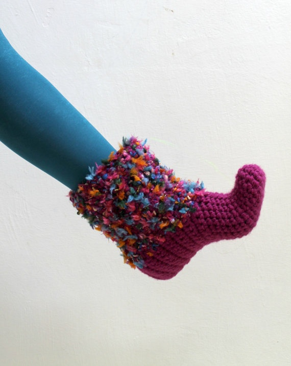 Raspberry hand crochet slipper booties home slippers by yarnisland, $36.00