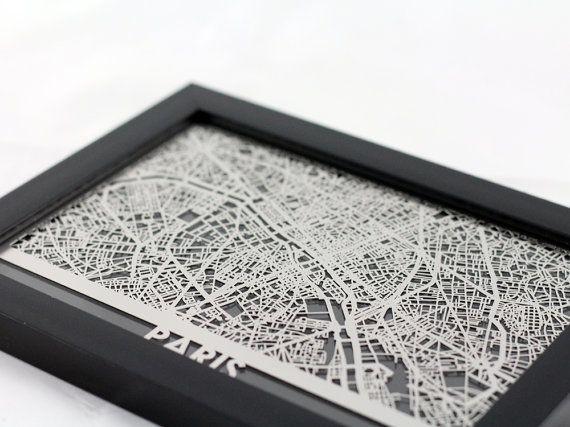 Paris Frankreich Edelstahl Laser geschnittene Karte 5 von CutMaps