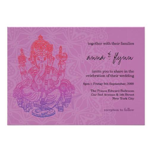 Indian Ganesh Purple Lilac Wedding Invitation