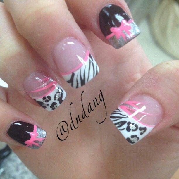 Cheetah zebra nails