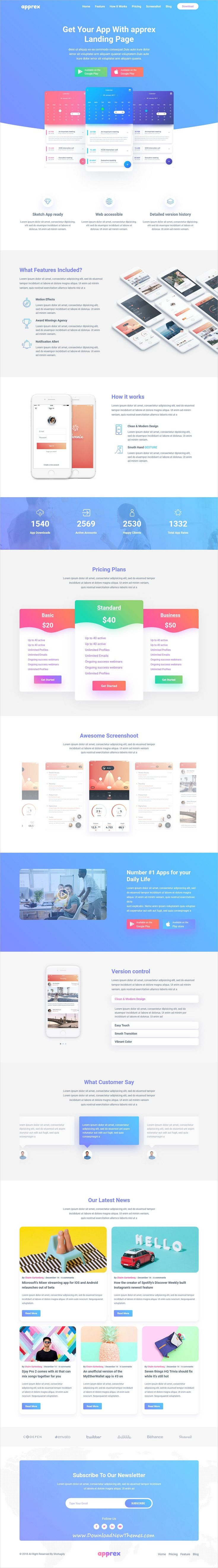Apprex is clean and modern design 6in1 responsive #bootstrap HTML #template for creative #app, SaaS and software #landingpage website to live preview & download click on image or Visit