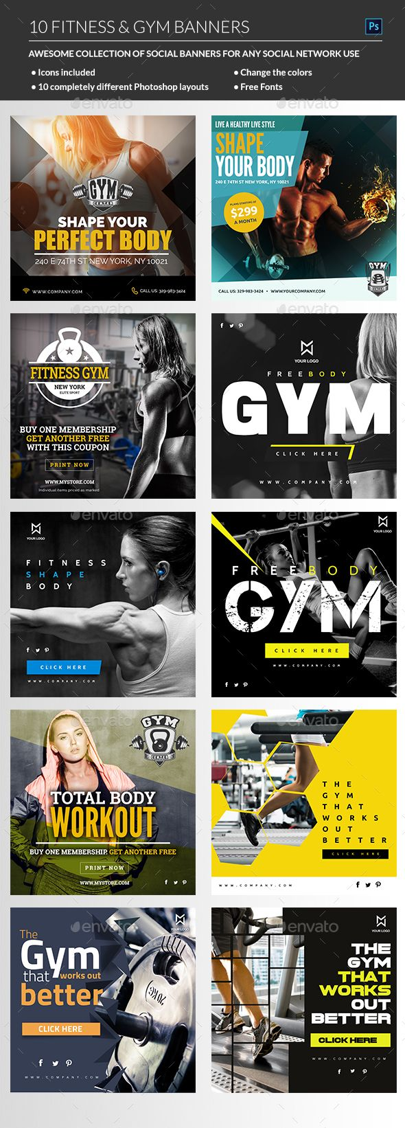 Fitness Web Banners Templates PSD. Download here: http://graphicriver.net/item/fitness-banners/16267380?ref=ksioks