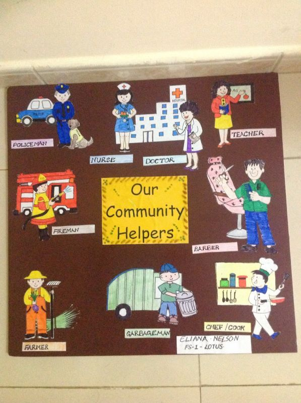 I would like a community helpers bulletin board in my classroom with school site staff pictures, and pictures of designated visitors with occupations in the community:)