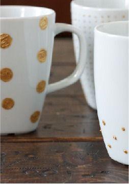 DIY gold mugs – so cute!