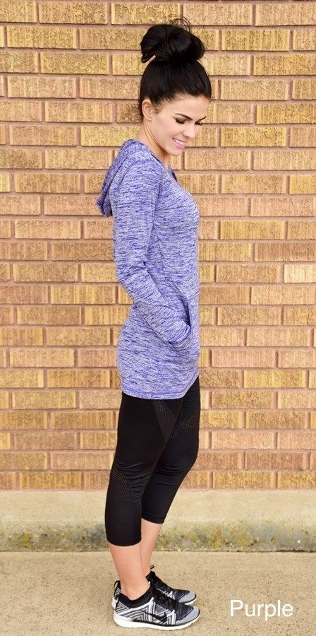 This workout top is great for any occasion! The material is a must feel and see. It's great for working out or just lounging around. Due to the material, this top does tend to fit more snug. Size: XS 0-2 Small 2-4 Medium 4-6 Large 6-8 XL 8-10 2XL 10-14 Details: 91% polyester / 9% spandex Dry-Tek, 6.5 ounce Breathable, moisture management Fresh assurance with anti-bacterial treatment UV Protection - V-neck opening with hood Diagonal pockets Model is 110 pounds, 5'4 and is wearing ...