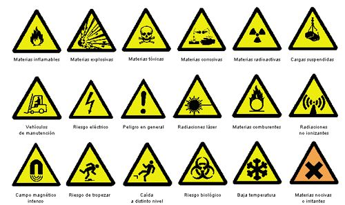 """Tienen forma triangular. Pictograma negro sobre fondo amarillo (el amarillo deberá cubrir como mínimo el 50% de la superficie de la señal), bordes negro. Como excepción, el fondo de la señal sobre """"materias nocivas o irritantes"""" será de color naranja, en lugar de amarillo, para evitar confusiones con otras señales similares utilizadas para la regulación de tráfico por carretera."""