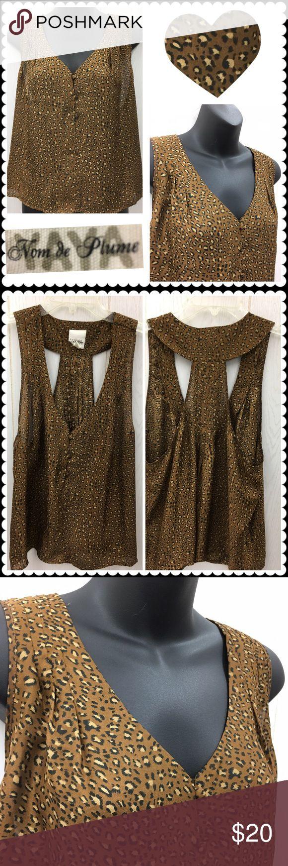 Animal print blouse by NOM de PLUME Sz Large Brown animal print sleeveless blouse by NOM de PLUME. Sz Large Urban Outfitters Tops Blouses