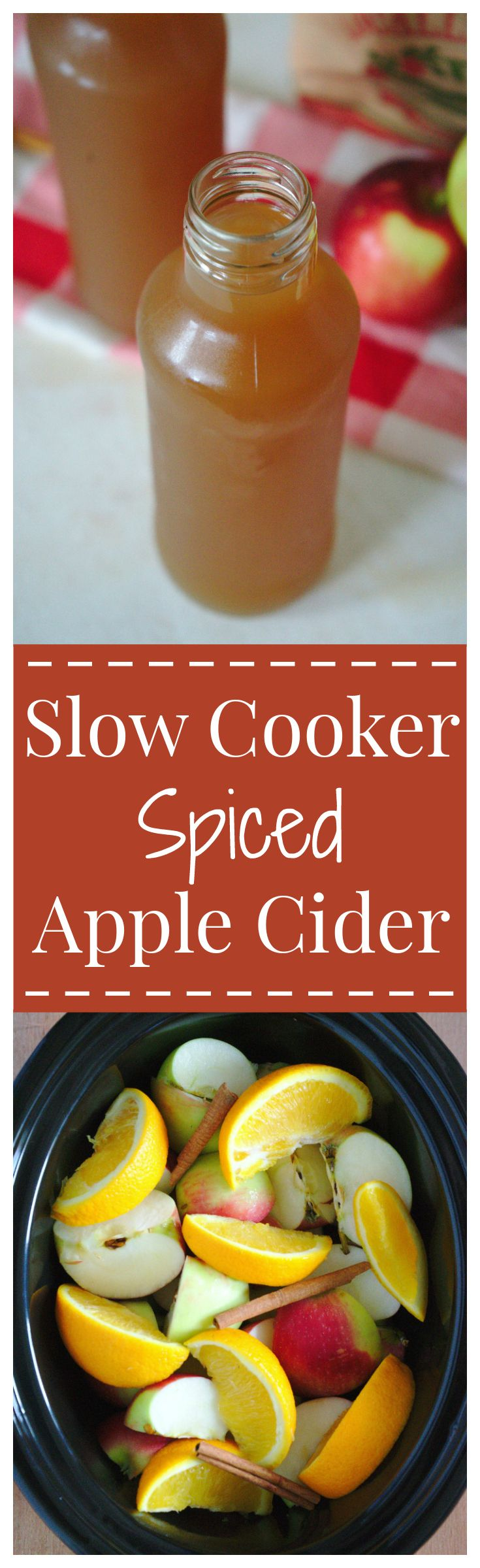 Slow Cooker Spiced Apple Cider – A favorite fall drink made with fresh apples, oranges, and a blend of delicious seasonings slow cooked for hours. #apple