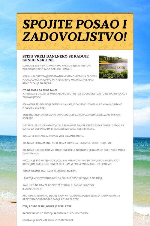 Help spread the word about SPOJITE POSAO I ZADOVOLJSTVO!. Please share! :)