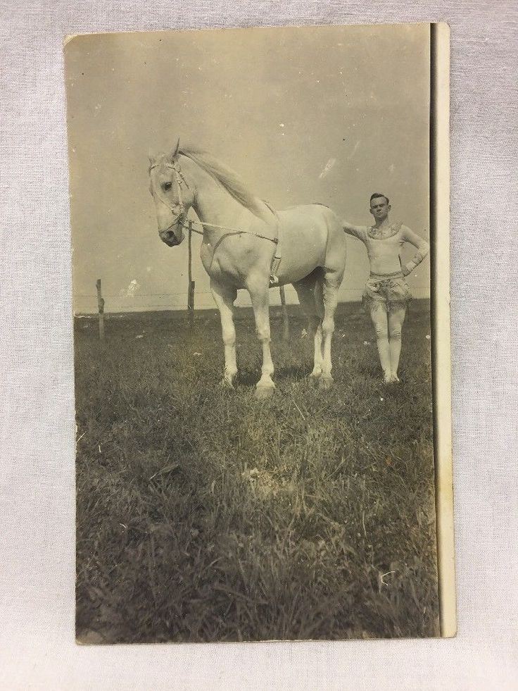 VINTAGE REAL PHOTO POSTCARD MAN & Horse  RPPC -UNUSED