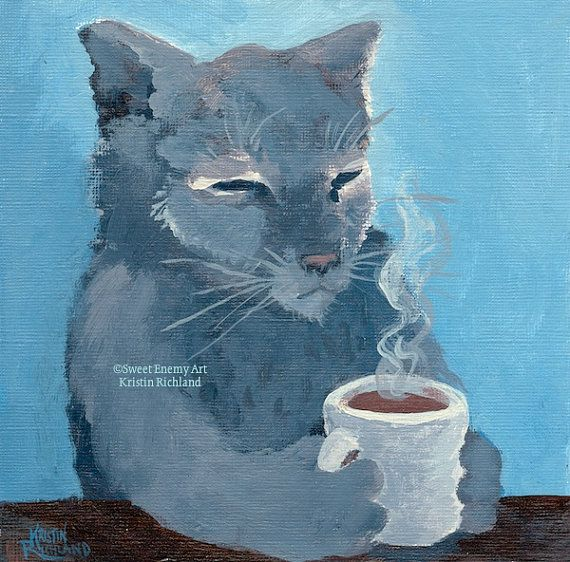 Good Morning Coffee Cat 5x7 Greeting Card by SweetEnemyArtsVT