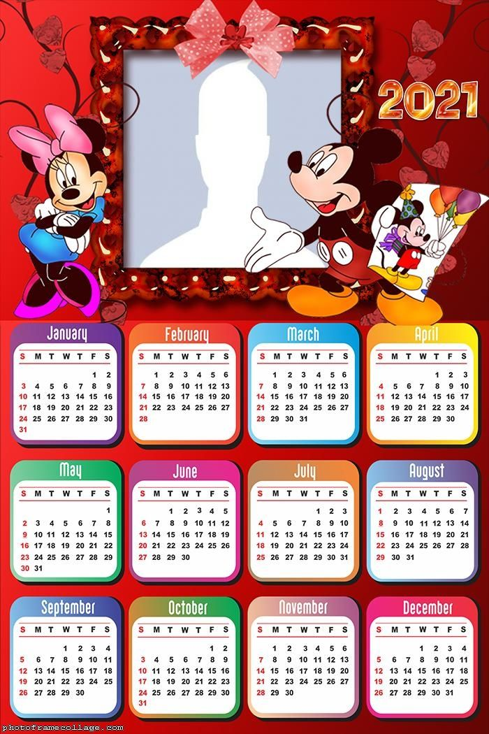 Calendar 2021 Mickey and Minnie | Minnie mouse birthday ...