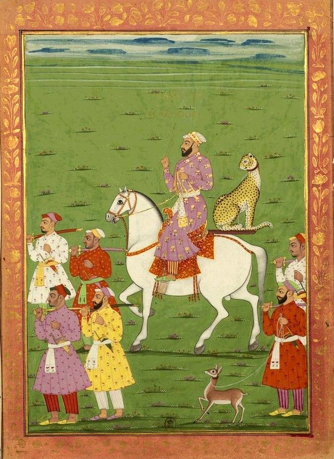 "Hunting panther. Album ""History of India since Tamerlank until Aurangzeb"": 56 miniatures by Manucci Golconda, miniatures painted between 1678 and 1686. Cavalier accompanied by a panther, specially erected for hunting gazelle, sitting on a bracket attached to the horse's rump; shikari holds a leash a way that will serve as bait."